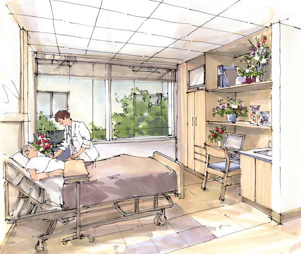Rendering - Patient Room concept drawing