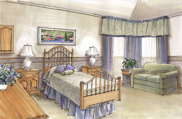 Rendering - Conceptual drawing of a Hospice patient room